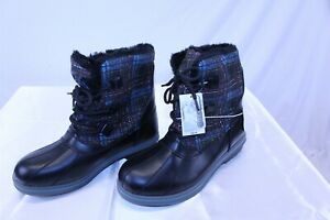 Women's Blue and Black Plaid Rubber Duck Boots Size 11