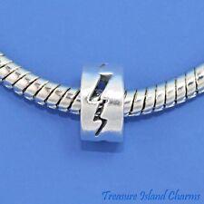THUNDERBOLT LIGHTNING BOLT .925 Solid Sterling Silver EUROPEAN Spacer Bead Charm