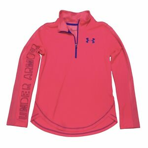 Under Armour Girls Youth Size Large 1/4 Zip Pullover Performance Shirt Hot Pink