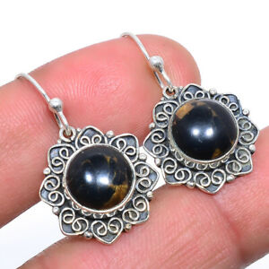 """Copper Black Turquoise Vintage Style 925 Sterling Silver Earring 1.18"""" T8644"""