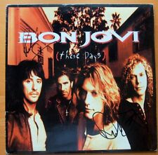 """BON JOVI """"THESE DAYS"""" PERSONALLY SIGNED LP BY 2 WITH COA"""