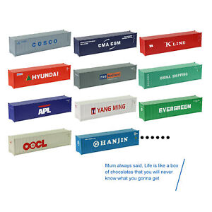 12pcs Random N Scale 1:160 40ft Shipping Container 40' Cargo Box Blind Box