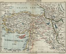 Asian Turkey Cyprus Holy Land Mediterranean Black Sea - 1882 Old Color Litho Map