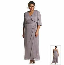 R&M RICHARDS Plus Size 14W Mocha Long Sparkle Dress & Jacket NWT $118