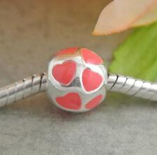 HANDMADE SILVER EUROPEAN Charm Bead for Bracelet PINK LOVE YOU FALLING HEART H7