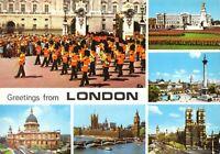 Postcard, Greetings from London Multi View, Buckingham Palace, Trafalgar etc 92V