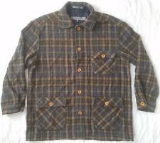 Wool Brown Plaid Flannel Heavy Work Barn Jacket - Medium Mens Coat Structure