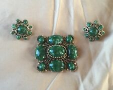 Emerald Green Marbled Stones Brooch Earrings Cabachons Demi Parure Massive JB