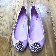 TED BAKER JELLY FLAT SHOES RHINESTONE WITH GOLD LOGO NUDE PINK SZ 8
