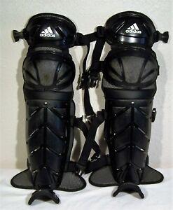 "Adidas Baseball Catchers Shin Guards - Black - Adult Size 16.5"" - Sporting Goods"
