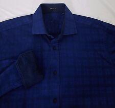 Men's BUGATCHI UOMO Classic Fit L/S Casual Shirt Blue Tonal Plaid Size Large!!