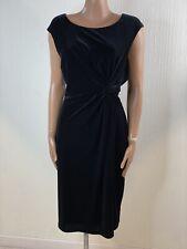 GINA BACCONI Black Velvet Knot Twist Waist Midi Dress Size 22 Formal Party
