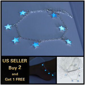 Blue Luminous Star Anklet Ankle Bracelet Foot Chain