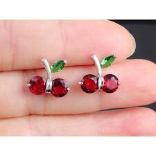 18K White Gold Plated Zircon CZ Red Cherry Fruit Stud Earrings for Women Girls