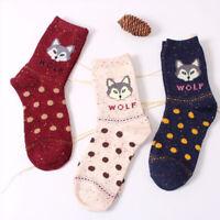 Soft Women Wolf Animal Printed Wool Lovely Casual Socks Lady Winter Warm Socks