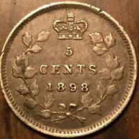 1898 CANADA SILVER 5 CENTS - Great example!