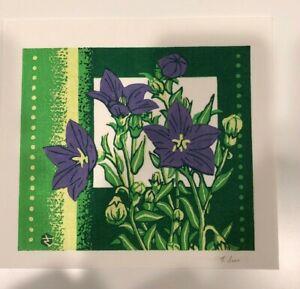 Japanese small woodblock print - Takao Sano Floral