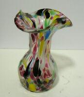 """Vtg Murano Art Hand Blown Glass Multi Color Splatter Confetti Vase- 6"""" Tall"""