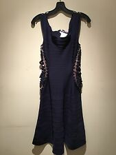Herve Leger NWT Blue Bodycon Lattice Bandage Cocktail Designer Dress Sz M $2500