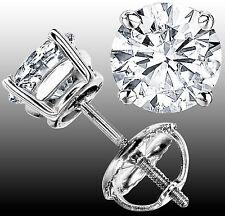 1.90 CT F-G VS1 GENUINE ROUND DIAMOND STUD EARRINGS 14K WHITE GOLD 100% NATURAL