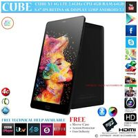 "CUBE X1 4G LTE 4GB RAM DECA CORE GPS 64GB 8.4"" RETINA ANDROID 7 PHONE TABLET PC"