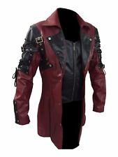 Mens Black Brown Red Sheepskin Leather Goth Matrix Steampunk Gothic Trench Coat