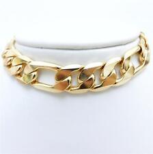 MEN'S HOT SALE ! FIGARO STAMPED 18KGL Yellow Gold Filled Bracelet  215mm