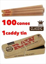 Raw Classic King Size Pre Rolled Cone(100 Pack)+1 raw King Size Caddy Container
