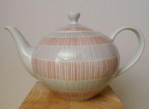 Teekanne Arzberg Form 2000, Streifen grau / rot - 9984 / ca. 0,9 Liter