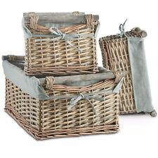 VonHaus Set of 3 Willow Baskets, Grey Willow Storage Boxes with Washable Lining,