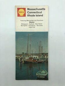 Massachusetts MA - Connecticut CT - Rhode Island RI - Shell Road Map - 1968