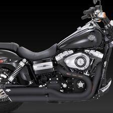 2008-2017 V&H Black Twin Slash Slip-On Exhaust Fat Bob/ Dyna Wide Glide 46845