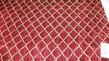 Burgundy Beige Diamond Print Chenille Upholstery Fabric 1  Yard  F920