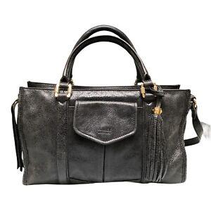 Aimee Kestenberg Charcoal Black Leather Handbag Shoulder Bag Purse Hobo