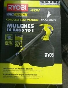 RYOBI Leaf Vacuum Mulcher Cordless Battery Lithium Ion Clean Up TOOL ONLY 40Volt
