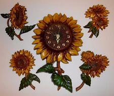 Vintage Midwest Junghans Quartz 5 Piece Wall Sunflower Clock Decor