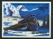 BHUTAN....  1987  25nu steam locomotive mini sheet  mnh