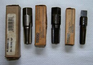 "(3) RIDGID 1/4"" (E-5113) 3/8"" (E-5114) & USA 3/8""-18NTP Pipe Taps"
