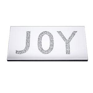 Glitz Shimmering Crystal Mirror JOY Wall Art Plaque Home Décor