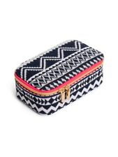 TOWNE AND REESE WOMENS BLACK WHITE AZTEC ELEGANT JEWELRY ZIPPERED CASE GIFT