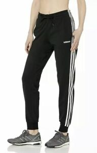 NWOT Women's Adidas Essential Black 3 Stripe French Terry Jogger Pants Size Med!