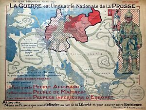 EUROPE PRUSSIA OCTOPUS PROPAGANDA Rare Persuasive Pictorial Map ORIGINAL