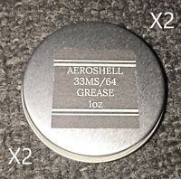 Two AeroShell 33MS/64 Barrel & Nut Lithium Synthetic Grease-Mil Spec - 1oz Jars