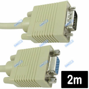 2M SVGA VGA Monitor Extension Cable Lead Male to Female for PC Laptop Projector