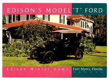 Edison's Model T Ford Postcard Fort Myers Florida Winter Home Car Henry Thomas