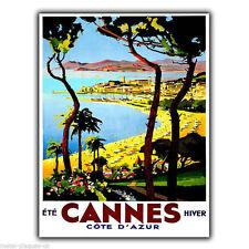 CANNES COTE D'AZUR VINTAGE Rétro Publicité Métal Mural Signe Plaque Poster Print