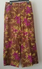 Womens Floral Print Metrostyle Flat Front Wide Leg Pants Size 12 Tall