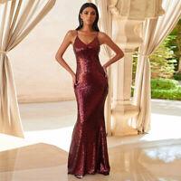 Damen SEXY Abendkleid Pailletten Kleid Ballkleid Partykleid Mermaid Stil BC715DR