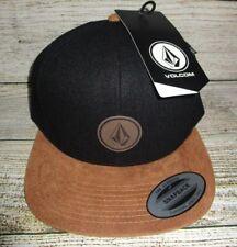 MENS VOLCOM BLACK BROWN SNAPBACK HAT ADJUSTABLE CAP ONE SIZE