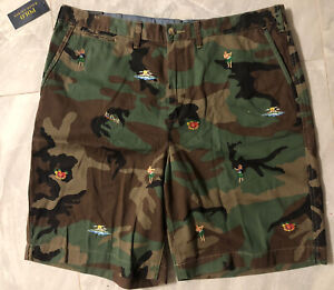 "NWT Polo Ralph Lauren Relaxed Fit 10"" Tropical Camo Chino Shorts - 38 Aloha Hula"